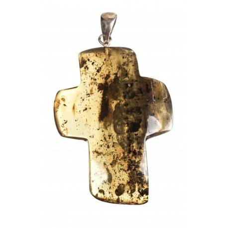 Silver pendant with a transparent amber cross