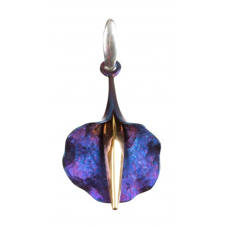 Silver pendant with titanium and gold-plated brass