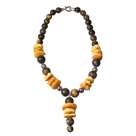 Baltic amber - silver necklace