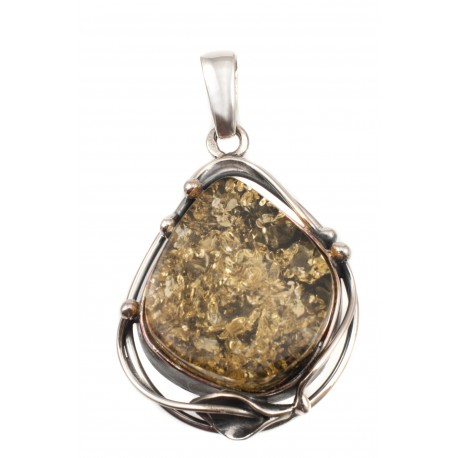 Silver pendant with green amber
