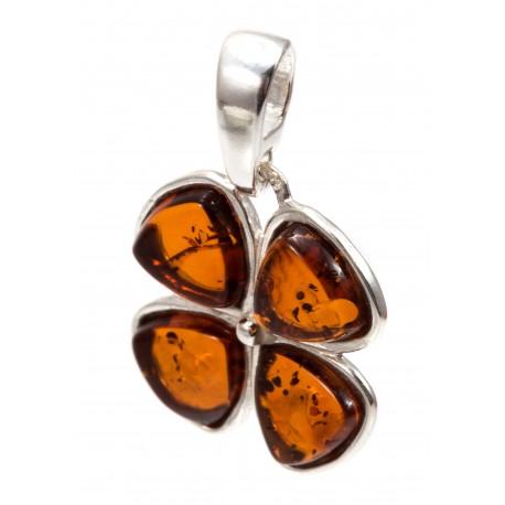 "Silver pendant ""Amber Clover"""