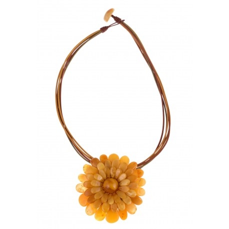 Yellow amber necklace-brooch