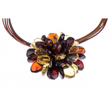 "Amber necklace-brooch ""The Rainbow"""