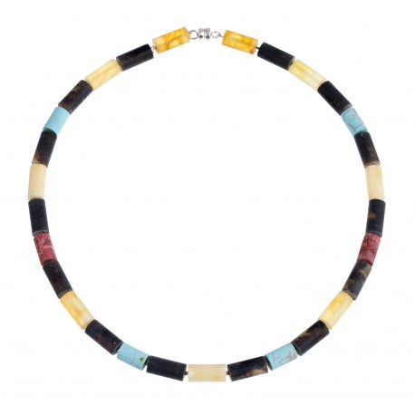 "Amber, turquoise, coral necklace ""The Traveler"""