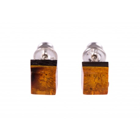 "Silver earrings with amber and wood ""Resin"""