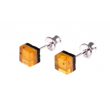 "Silver earrings with amber and wood ""The Sun"""