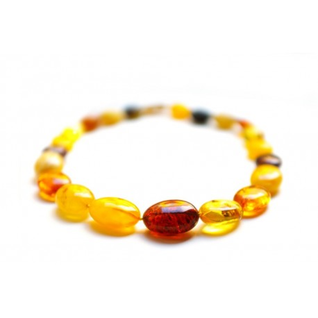 Polished Baltic amber beads of various colors