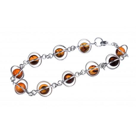 "Silver-amber bracelet ""Amber Creeper"""