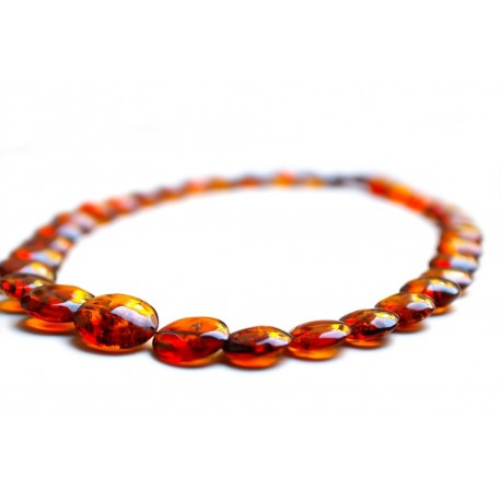 Trasparent cognac color amber beads