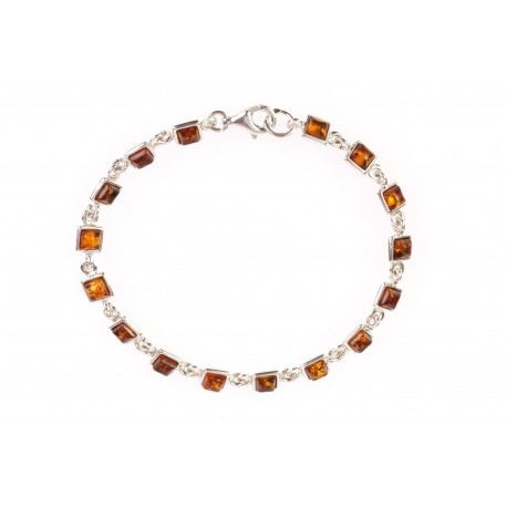 "Silver bracelet with amber ""Autumn Rain"""