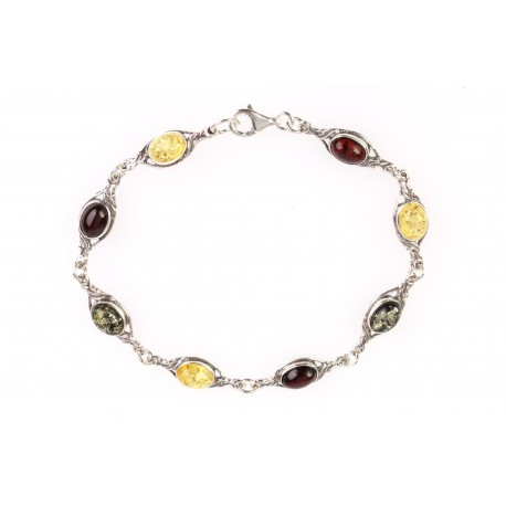 "Silver bracelet with amber ""Sunny Sea"""