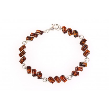 "Silver bracelet with amber ""Cognac Dream"""