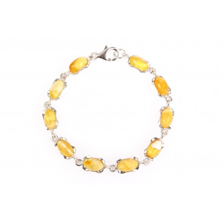 "Silver bracelet with amber ""A Moment"""