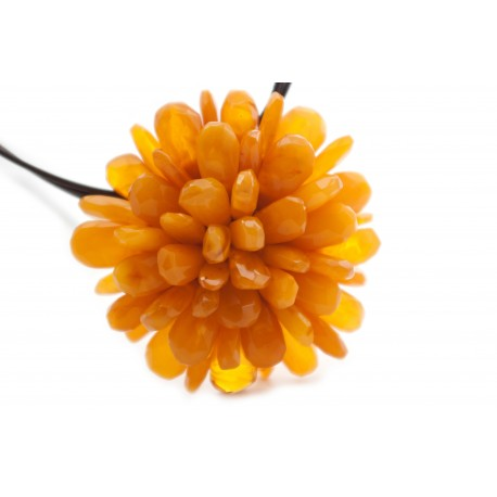 "Yellow amber necklace-brooch ""Flower"""