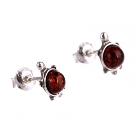 """Silver earrings with amber """"Amber Turtle"""""""