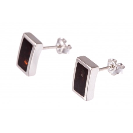 """Silver earrings with amber """"Modern Classic"""""""