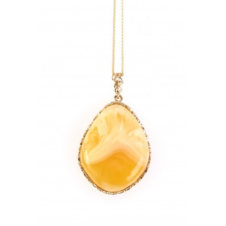 """Golden necklace with amber """"The Spring of Life"""""""