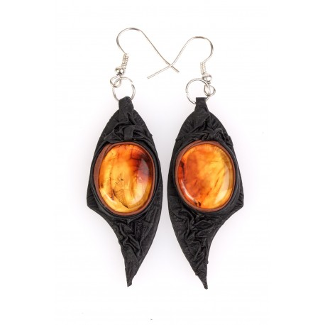 Black leather earrings with clear, yellow amber