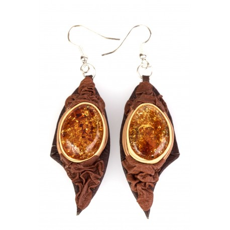 Brown-colour, leather earrings with yellow amber