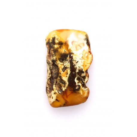 Antiquarian, yellow amber nugget with the impurities of white, black, green amber