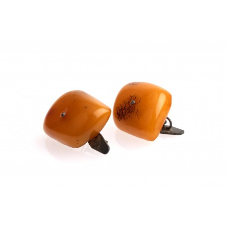 Antiquarian, yellow matted amber cufflinks