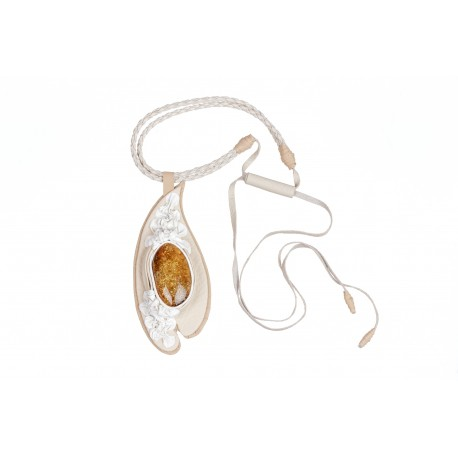 White coffee colour leather necklace