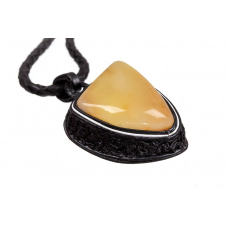Black leather necklace with lemon and yellow colour amber
