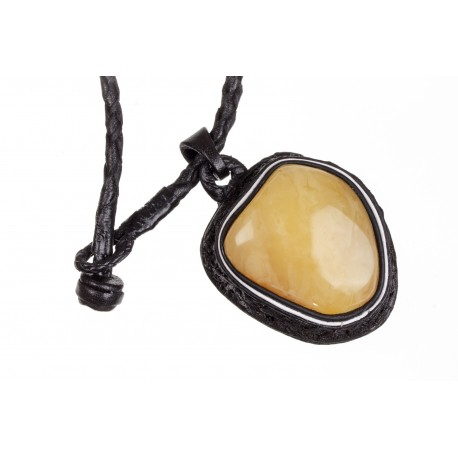 Black leather necklace with yellow and lemon-colour amber