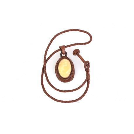 """Leather necklace with white amber """"The Freshness of a Forest"""""""