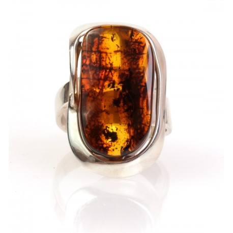 "Silver ring with cognac-colour amber ""Sea Coast"""