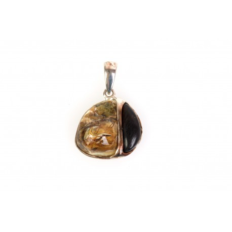 Silver pendant with amber and wood