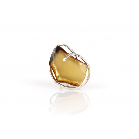 "Silver ring with amber ""The Melody"""