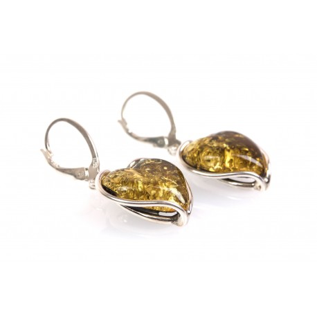 """Amber earrings with silver threads """"The Source of Life"""""""