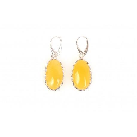 Amber - silver earrings