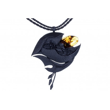 "Leather necklace with yellow-colour amber ""In the Waves' Embrace"""