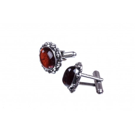 Cufflinks with cherry-colour amber