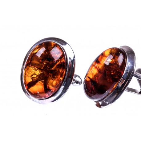 Silver cufflinks with cognac-colour amber