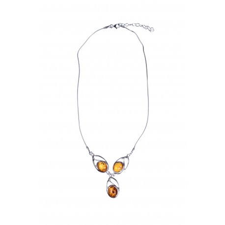 Silver, three-piece necklace with amber