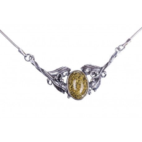 Silver necklace with yellow-colour amber