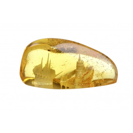 Piece of amber with panorama