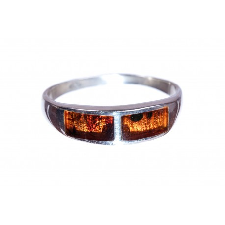 Silver ring with cognac-colour amber