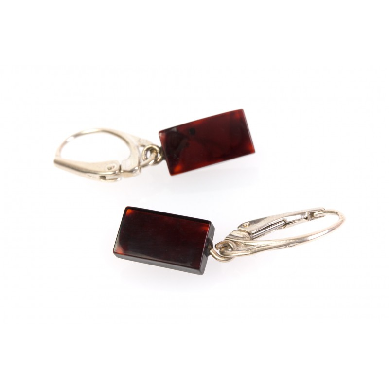 Cherry Amber Earrings With Silver Leverback Clasp Loading Zoom