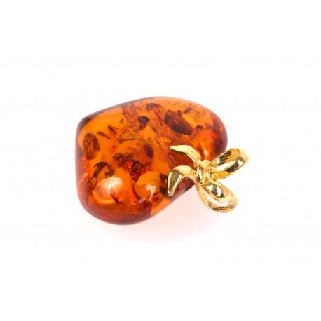 "Clear, cognac amber pendant ""Everlasting Love"""