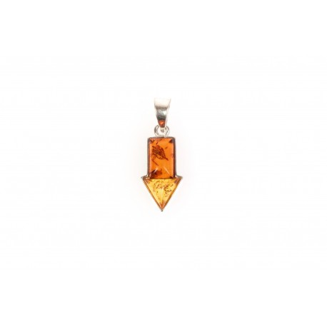 "Clear amber pendant ""The Right Way"""
