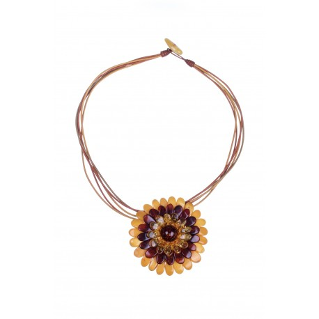 Multicoloured amber necklace - brooch