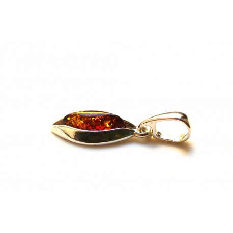 """Amber - silver pendant """"Palms' Warmth"""""""
