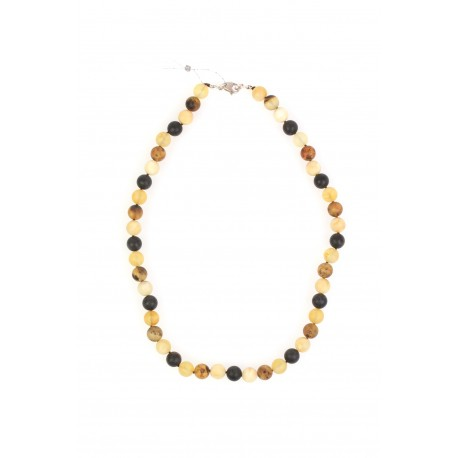 Multicoloured amber necklace