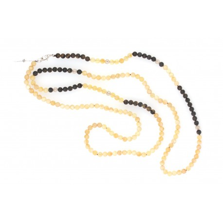 Luxurious necklace of black and white amber