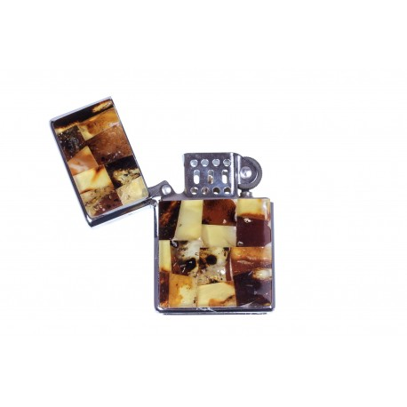 Lighter decorated with amber mosaic