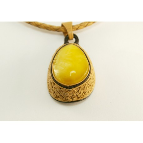 "Natural leather necklace with white amber ""Tenderness"""
